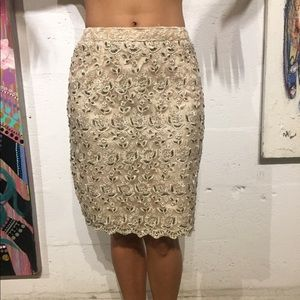 Cache vintage beaded lace formal skirt size small